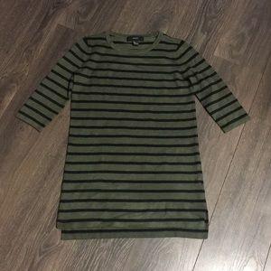 Forever 21 Olive & Black Striped Sweater Dress